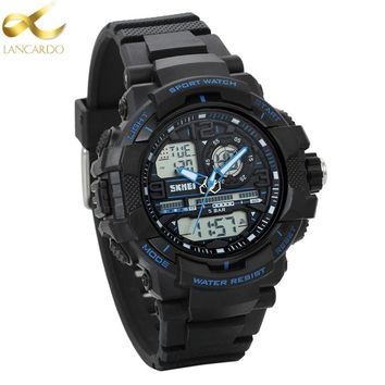 Lancardo Fashion Watches Men New G Style 50m Waterproof Sports Military Watches Men's Luxury Analog Quartz Dual Display Watch