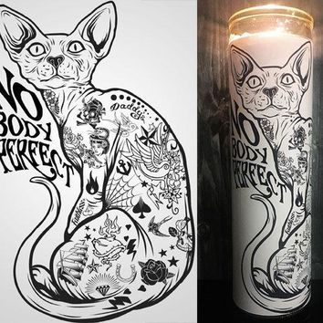 Sphinx Cat, Sphynx cat,  Hairless Cat, tattoo, Cool Art, Hipster, Home Decor, Scented  Candle, Prayer Candle, Candle, Gift Idea,
