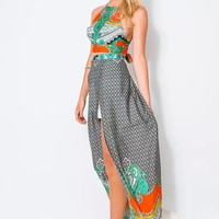 Floral Print Cross Tie-Back Top And Maxi Skirt With Slit
