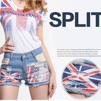 Patchwork Contrast Color Patch Craft Slim Casual Jeans Shorts
