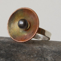 Silver, copper and black pearl ring