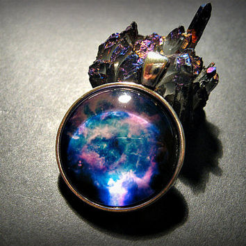 Dark Galaxy Space Glass Dome Necklace, Boho, Vegan, Hippie, Cosmos, Nebula, Bohemian, Universe,Purple, Blue, Choker,  Cosmic, Round, Circle