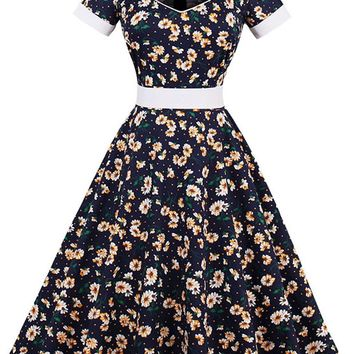 Atomic Dark Blue Little Daisies Cocktail Dress