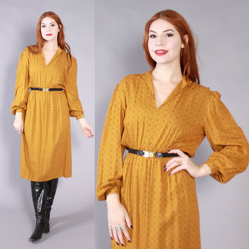 Vintage 70s DRESS / 1970s Gold & Black Long Sleeve Midi Secretary Dress xs - s