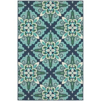 Kailani Contemporary Blue/Green Indoor/Outdoor Area Rug