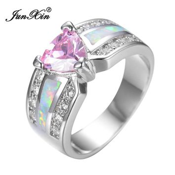 Elegant Fashion Pink Heart Female Opal Ring White Gold Filled Jewelry Vintage Party Engagement Wedding Rings For Women RP0029