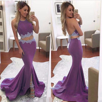 2017 Two Piece Purple Ciffon Long Evening Prom Dresses Halter Appliqued Backless Formal Evening Party Gowns Robe De Soiree