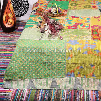 Vintage Reversible Kantha Patchwork Quilt Blanket Throw Queen Bedding Made With Vintage Cotton Saree