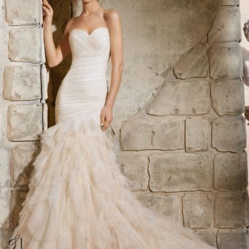 Blu by Mori Lee 5369 Ruffle Tulle Mermaid Wedding Dress