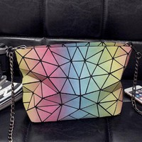 Gotopfashion issey miyake Rainbow package noctilucent geometry  Crossbody Satchel Shoulder Bag