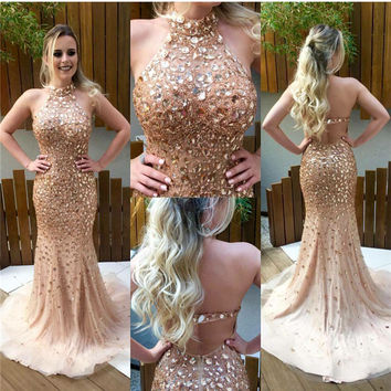 2017 Sparkly prom dresses Champagne Crystal Beaded Mermaid  Gowns Off Shoulder Mermaid Formal Gowns gowns graduation Luxury