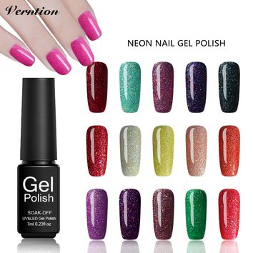 Verntion Black Bottle Gel Paint Nail Polish Soak Off LED UV Art Glue Neon Bling Nail Gel Polish Lucky Glitter Gel Lacquer