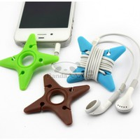 PandaAAA Multicolor Soft Silicone Rubber Fish Bone Fishbone Ninja Darts Star Key Cord Winder Cable Tie for Headphones Earphone Headset Wrap Reel and Earbuds Cord Holder Manager Organizer for Iphone,ipod, Portable Colorful Winder