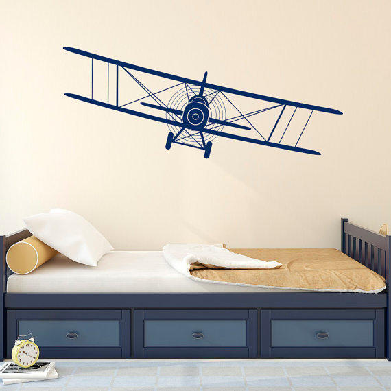Biplane decal airplane wall decals plane from fabwalldecals on for Aviation wall mural