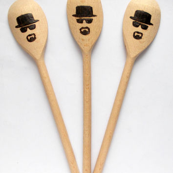 Let's Cook wooden spoons, Set of 3 pieces, Set of three spoons, Breaking bad spoon, handmade spoon, Kitchen set, Heisenberg hat,wood burning