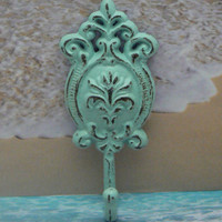Ornate Floral Cast Iron Beach Light Blue Oval Hook Cottage Shabby Style Chic Nautical Leash Jewelry Coat Hat Keys Bathroom Key Towel Hook