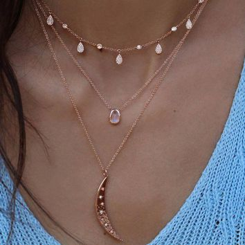 New 2017 summer jewelry drop drip micro pave sparing bling tear drop cz station 925 sterling silver choker charm necklace