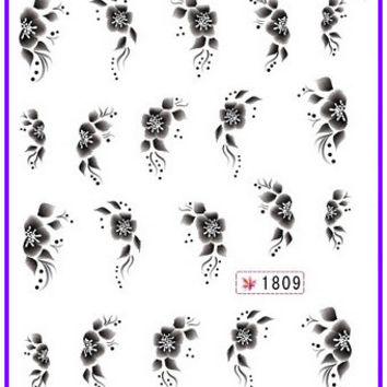 6 PACK/ LOT  GLITTER WATER DECAL NAIL ART NAIL STICKER BLACK FLOWER CHERRY BLOSSOM ACTINIA SY1809-1814
