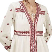 Topshop Embroidered Peasant Top | Nordstrom