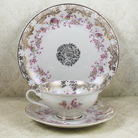 Vintage Pink and Gold Floral Bavaria Schlottenhof 1940s Bone China Tea Cup and Plate Set