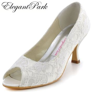 Fashion Ivory Woman Shoes EP11013 Peep Toe Mid Heels Lace Lady Party Wedding Bridal Woman's Shoes