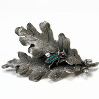George W Shiebler Leaf Brooch, Sterling Silver, Turquoise Beetle, Victorian Jewelry, Antique Brooch, Arts Crafts, Art Nouveau, Brooch