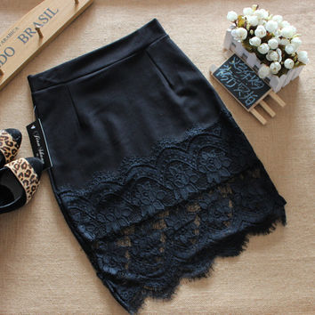 The new spring and summer lace stitching step skirt sexy slim package