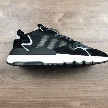 HCXX A1183 Adidas Nite Jogger 2019 Boost Breathable Running Shoes Black White