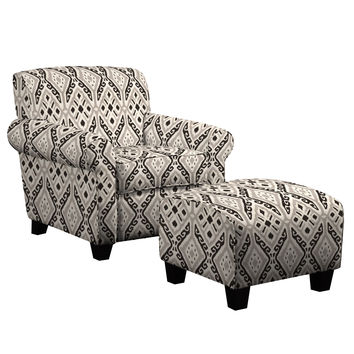Portfolio Mira Gray and Black Ikat Design Chair and Ottoman | Overstock.com Shopping - The Best Deals on Living Room Chairs