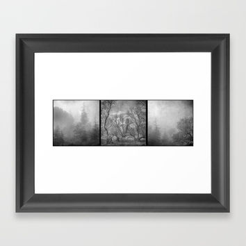 """Misty trees tryptic"" Framed Art Print by Guido Montañés"