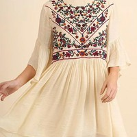 Boho Babe Floral Embroidered Cream Swing Dress