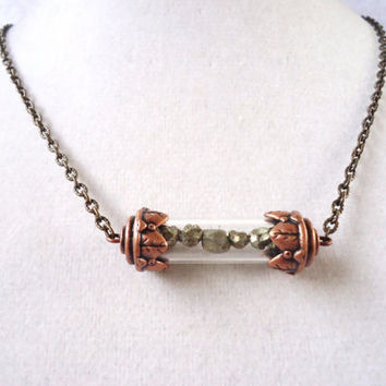 Raw Pyrite Nugget Filled Victorian Style Copper Capsule Necklace