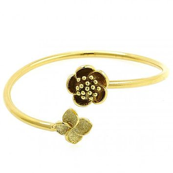 Gold Layered 07.192.0005 Individual Bangle, Flower Design, Polished Finish, Golden Tone (60 MM Thickness, One size fits all)
