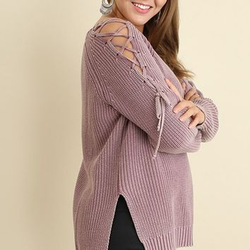 Lilac Lace-Up Sweater | Plus