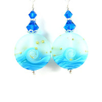 Blue Wave Earrings, Ocean Earrings, Turquoise Blue Aqua Blue Earrings, Beach Jewelry, Lampwork Earrings, Beach Earrings  - Cool Waters