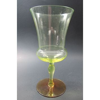 Vaseline stem ware glass goblet