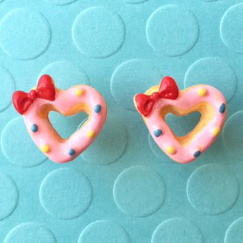 """Handmade """"Donut Heart"""" Strawberry Pink  Heart Shaped Donut Earrings with Sprinkles and Bow"""