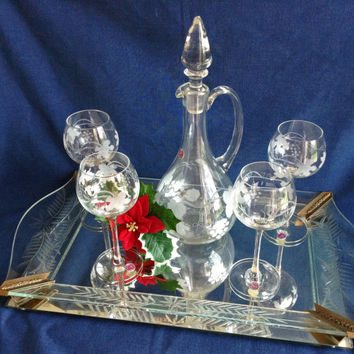 Romanian Crystal Decanter and Glass, Never Used, Romania, Frosted Design