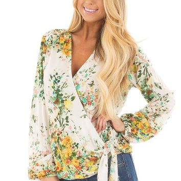 Ivory Floral Print Surplice Top with Front Tie