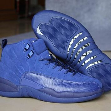 Air Jordan Retro 12 Premium Deep Royal Blue Suede Basketball Shoes Men 12s Royal Blue