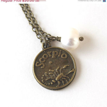 VALENTINES DAY SALE Scorpio astrology zodiac star sign charm and white pearl antique bronze necklace