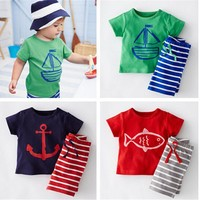 Boys 2pc Tshirt and Striped pants Outfit