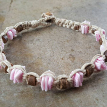 Hemp Anklet, Pink Puka Shells, Coconut Shell Beads, Handmade Jewelry, Gift, Surfer Girl Jewelry, Shell Anklet, Puka Anklet, Hemp Jewelry