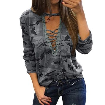WEIXINBUY New Arrival Summer 2018 Women Sexy Tops Damen Lace Up V-neck Long Sleeve Camouflage Blouse Casual Tops H9