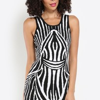 Staggering Lines Bodycon Dress