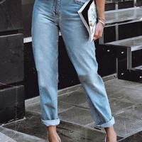New Light Blue Pockets High Waisted Boyfriend 90's jeans Vintage Casual Mom Jeans