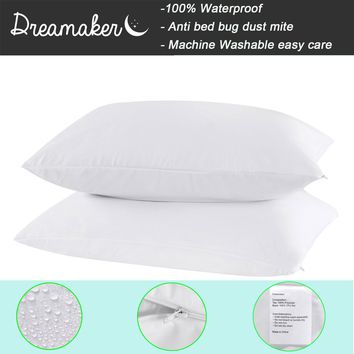 100% Waterproof Zippered Pillow Case Allergy Bed Bug Protector Cover Set of 2