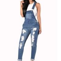Women Fashion Denim Jumpsuits Ripped Hole Long Overalls Jeans Bodysuit 2017 Autumn Casual Hollow Out rompers womens jumpsuit