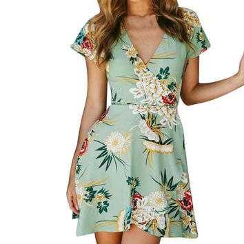 2019 Fashion Women's summer dress Bohemian style ladies Short Sleeve Adjustable Bandage Floral Swing Beach Dresses vestidos