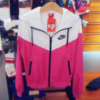 """NIKE"" Fashion Hooded Sweatshirt Zipper Cardigan Coat Jacket Windbreaker Rose red"